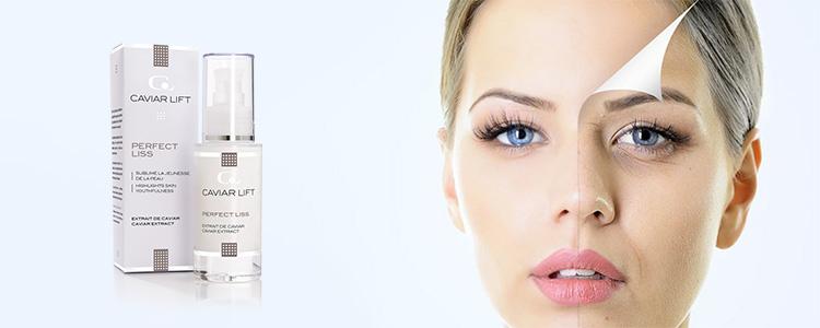 Prenez soin de la belle et jeune peau du visage sans rides avec le produit Caviar Lift France